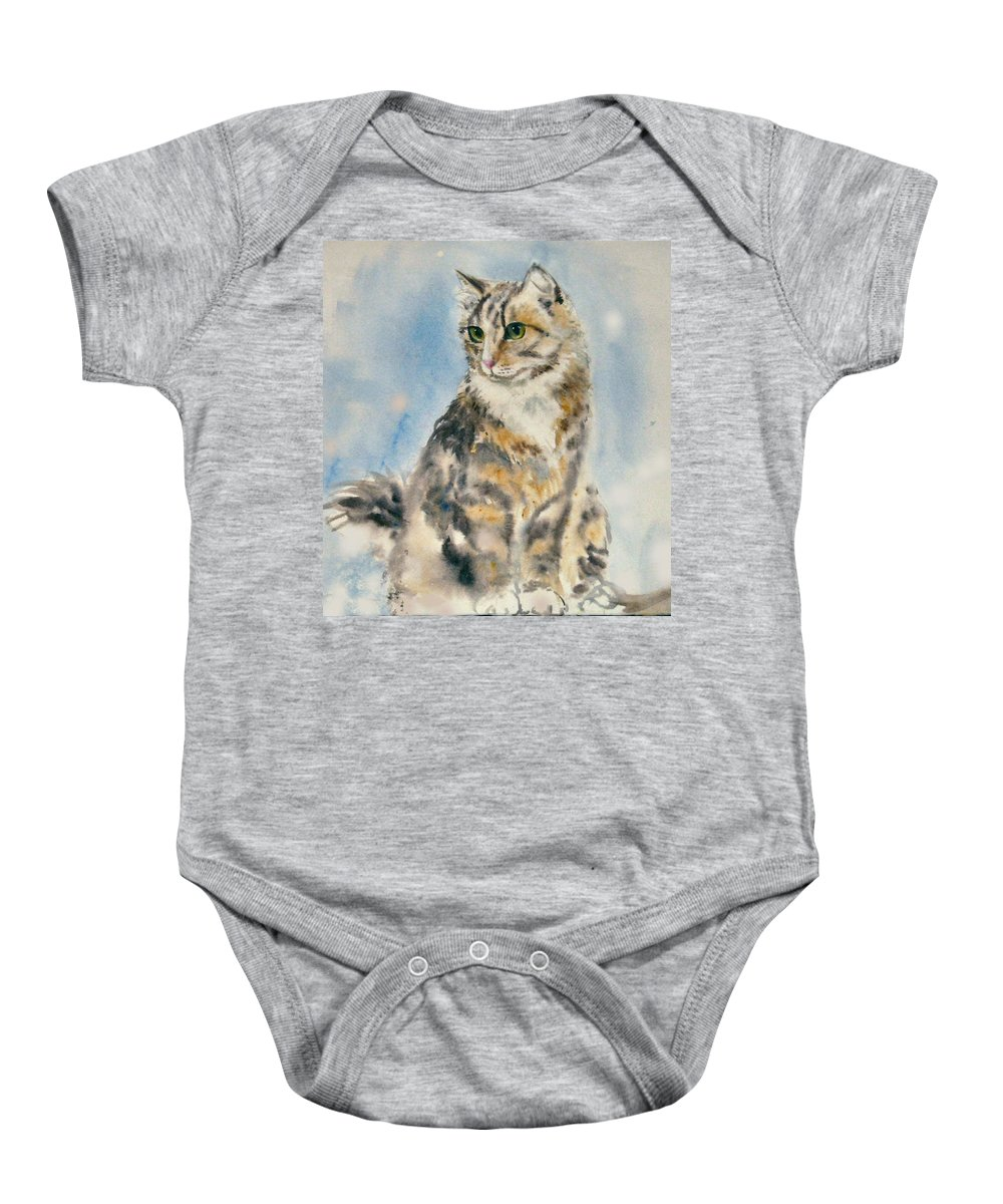 Cat Painting. Original.tabby Cat Baby Onesie featuring the painting Tabby Cat by Frances Gillotti