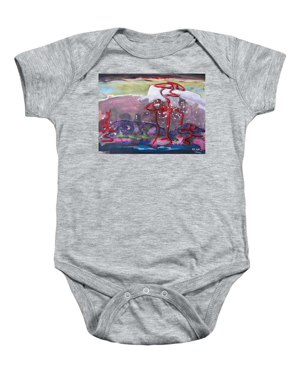 Abstract Paintings Baby Onesie featuring the painting Table Land3 by Seon-Jeong Kim