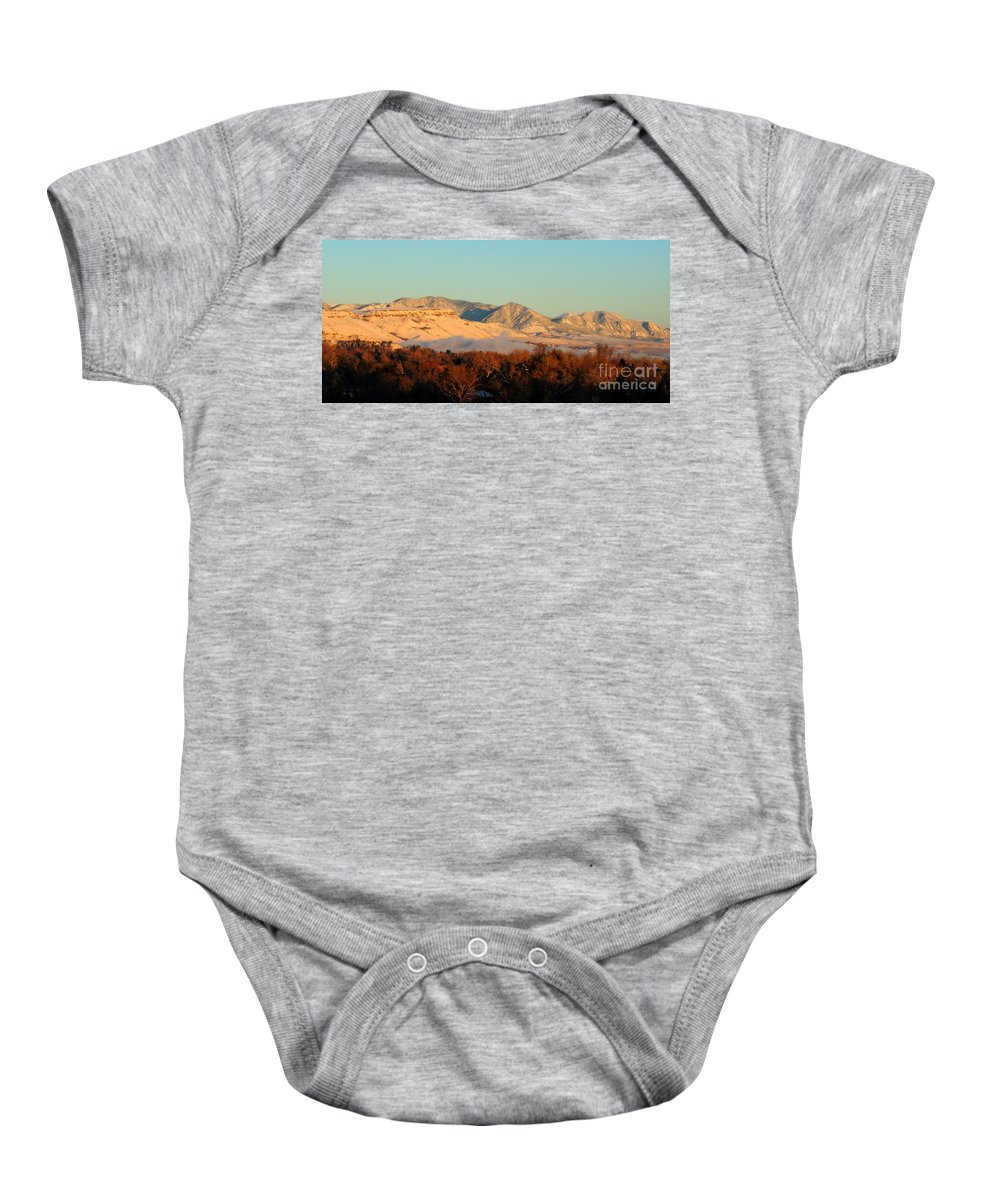 Fog Baby Onesie featuring the photograph Table Mesa Winter Morning by Merrimon Crawford