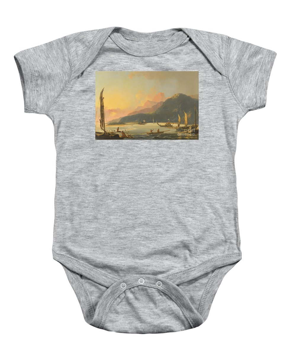 William Hodges Baby Onesie featuring the painting Tahitian War Galleys In Matavai Bay by Celestial Images