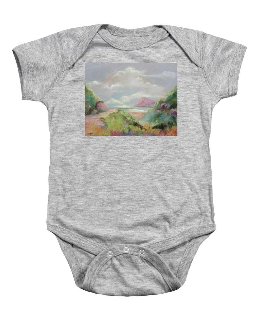 Seascape Baby Onesie featuring the painting Taiwan Inlet by Ginger Concepcion