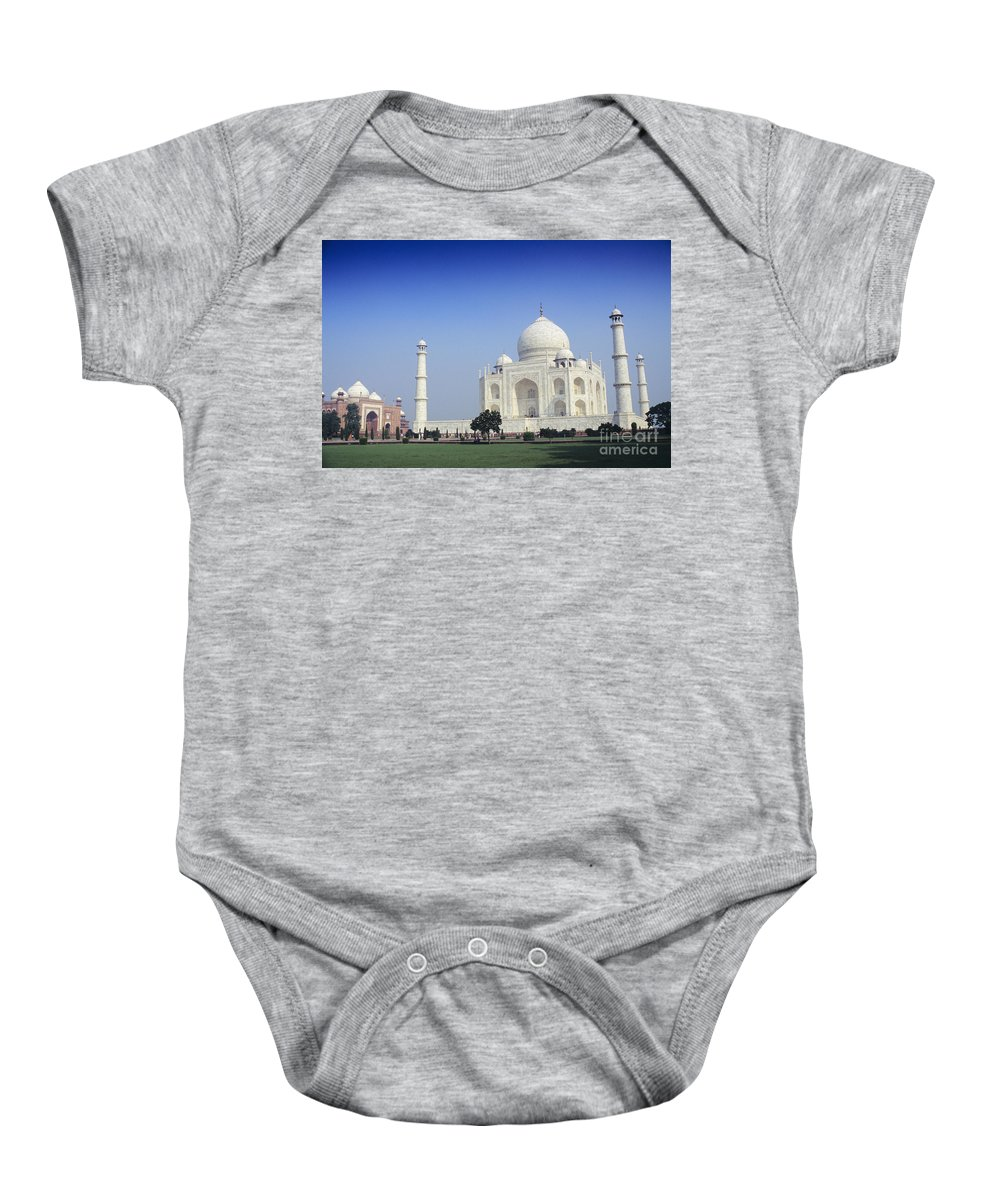Agra Baby Onesie featuring the photograph Taj Mahal View by Gloria & Richard Maschmeyer - Printscapes