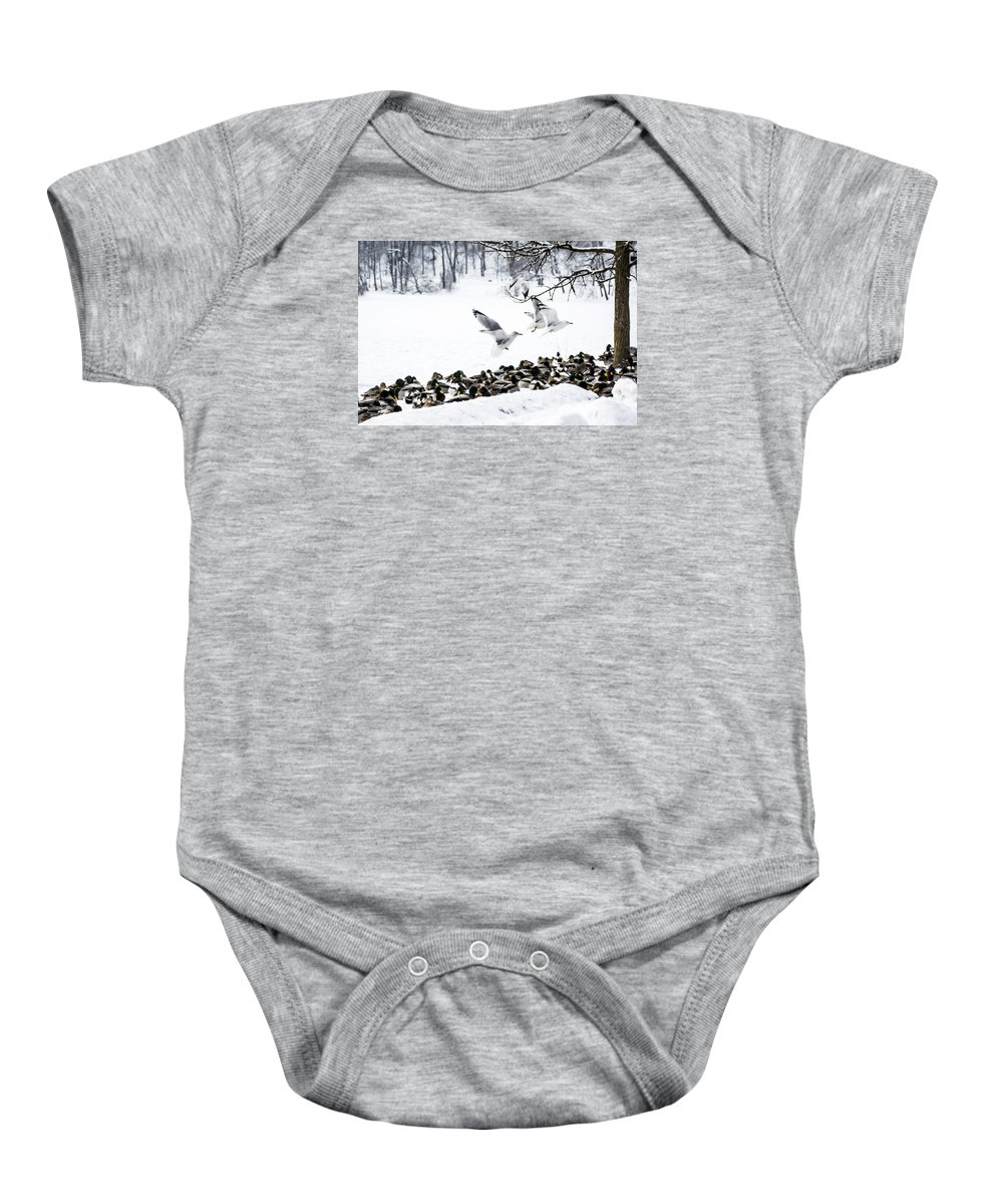 Takeoff Baby Onesie featuring the photograph Takeoff by Tracy Winter