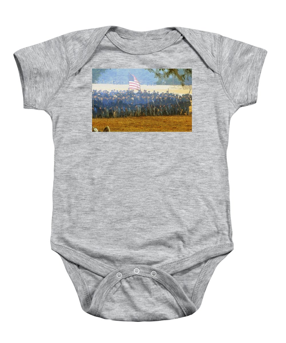 Art Baby Onesie featuring the painting Taking The Field by David Lee Thompson