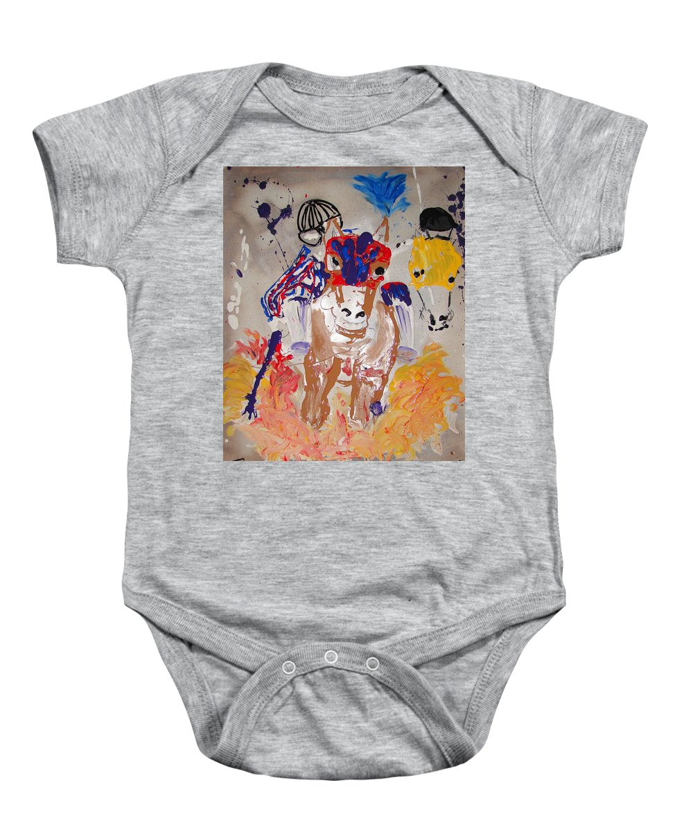Horse Baby Onesie featuring the mixed media Taking The Lead by J R Seymour