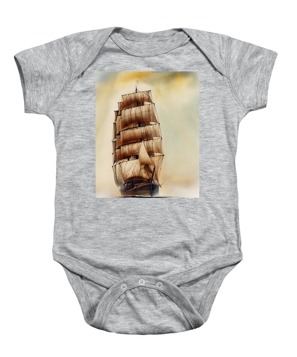 Tall Ship Print Baby Onesie featuring the painting Tall Ship Carradale by James Williamson