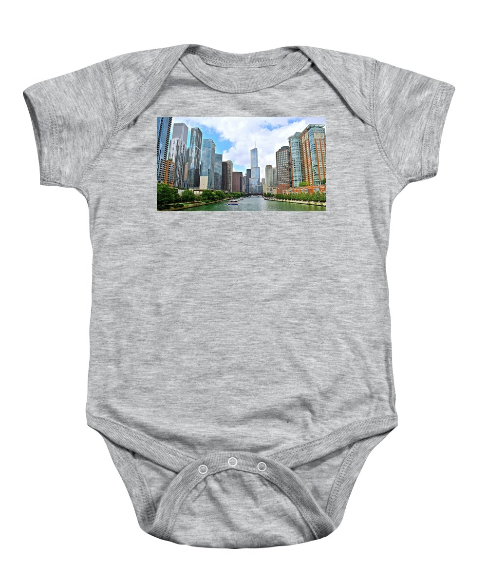 Chicago Baby Onesie featuring the photograph Tall Towers In Chicago by Frozen in Time Fine Art Photography