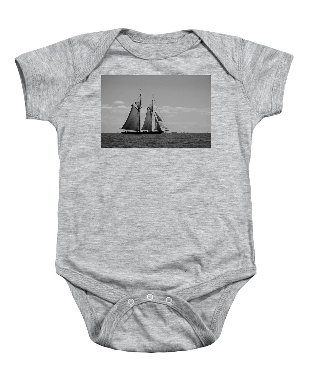 Pelican Baby Onesie featuring the photograph Tallship by Michael Thomas