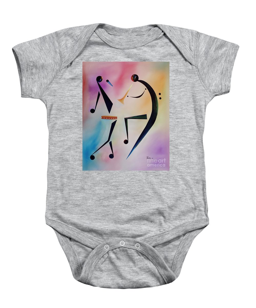 Trumpet Baby Onesie featuring the painting Tambourine Jam by Ikahl Beckford