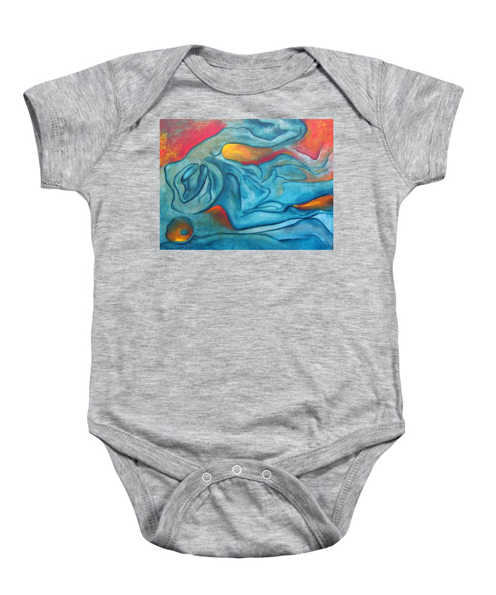 Abstract Blues Love Passion Sensual Earth Baby Onesie featuring the painting Tangled Up by Veronica Jackson