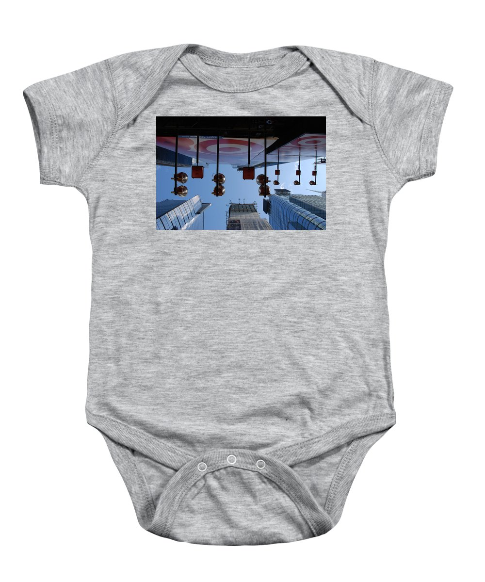 Architecture Baby Onesie featuring the photograph Target Lights by Rob Hans