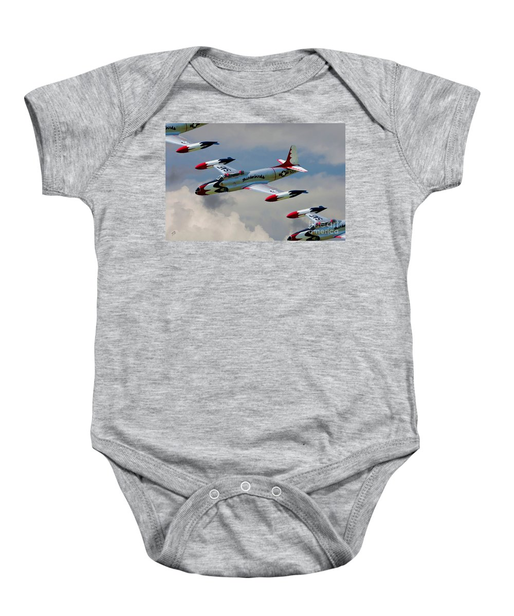 Lockheed Baby Onesie featuring the digital art Tbirds Lockheed T-33 Shooting Star by Tommy Anderson