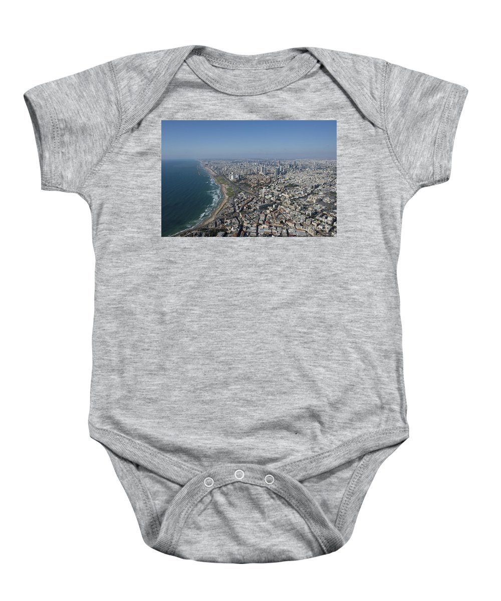 Tel Aviv Baby Onesie featuring the photograph Tel Aviv Israel Elevated View by Dragonfly