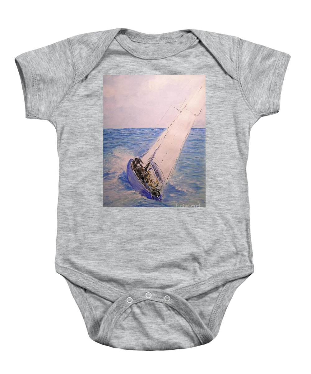 Seascape Baby Onesie featuring the painting Tell Tails In The Wind by Lizzy Forrester
