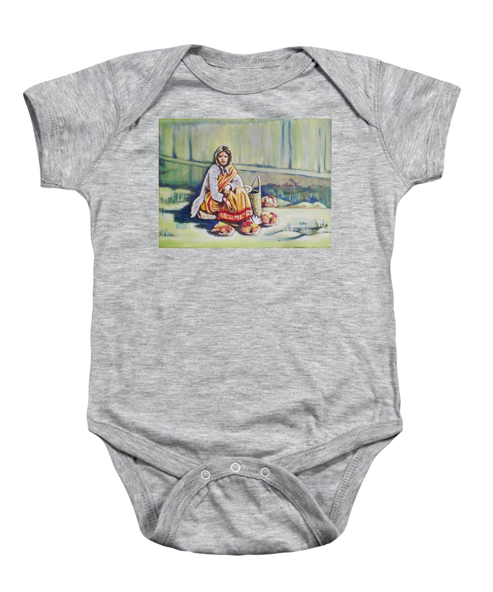Usha Baby Onesie featuring the painting Temple-side Vendor by Usha Shantharam