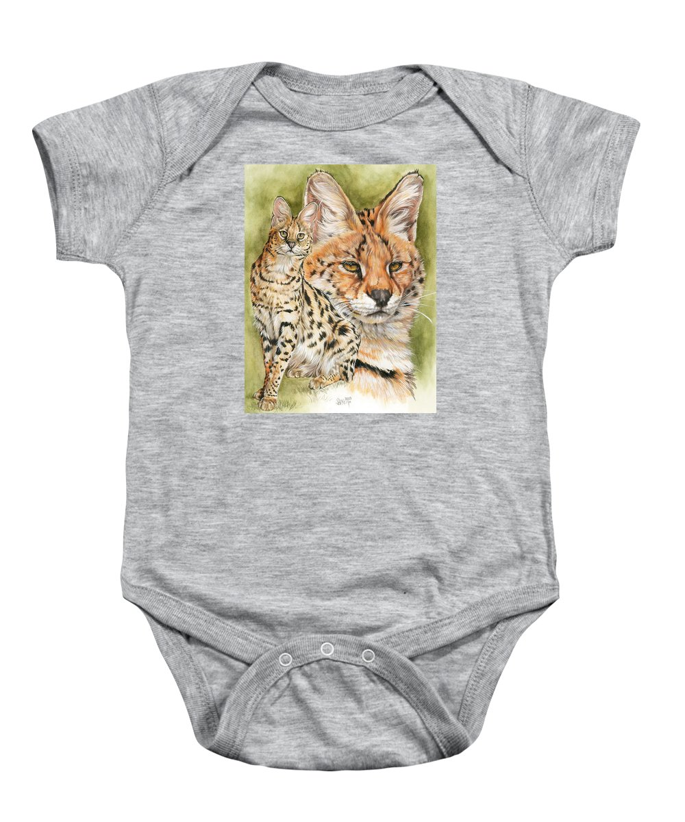 Serval Baby Onesie featuring the mixed media Tempo by Barbara Keith