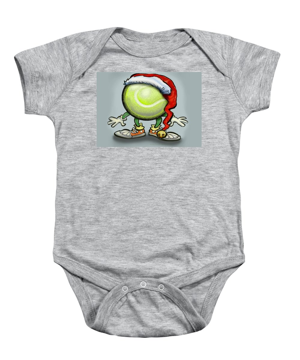 Tennis Baby Onesie featuring the greeting card Tennis Christmas by Kevin Middleton