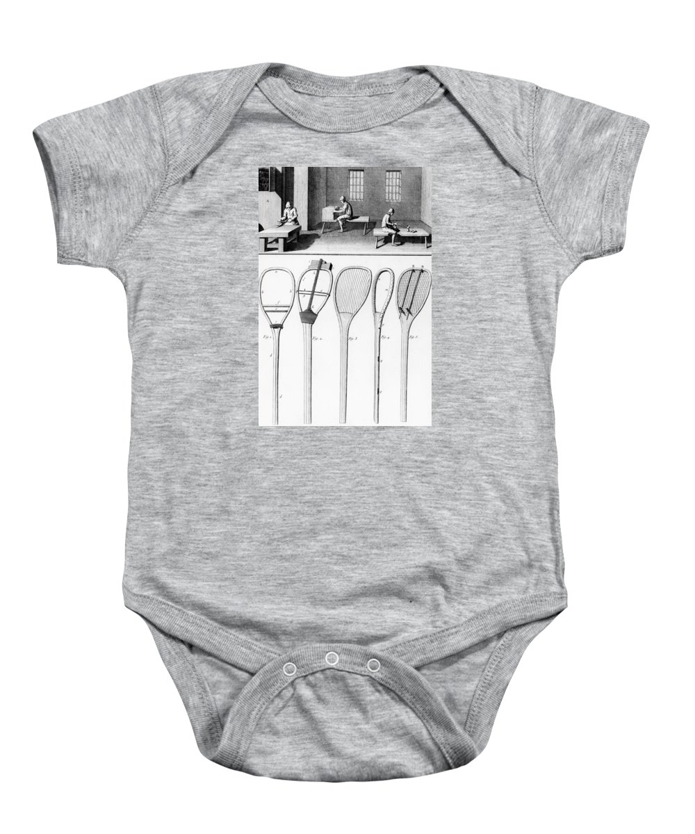 Tennis Baby Onesie featuring the drawing Tennis Rackets by French School