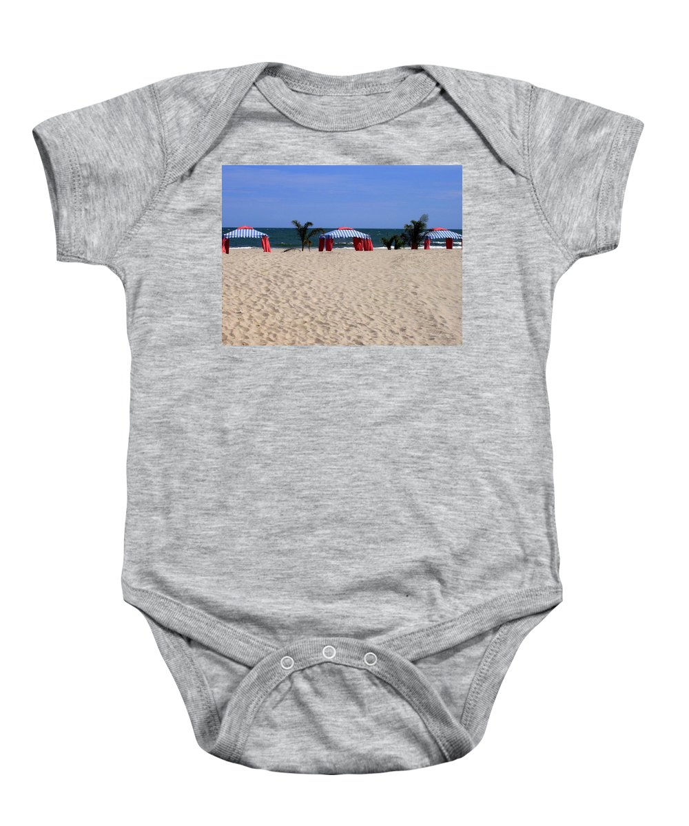 Beach Baby Onesie featuring the photograph Tent Caravan by Deborah Crew-Johnson