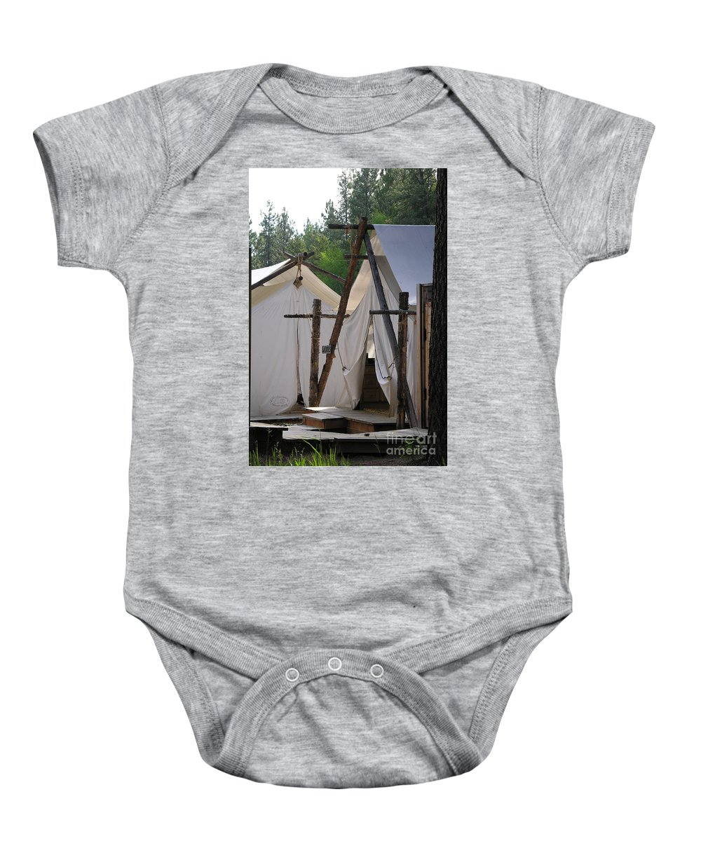 Montana Baby Onesie featuring the photograph Tent Living Montana by Diane Greco-Lesser