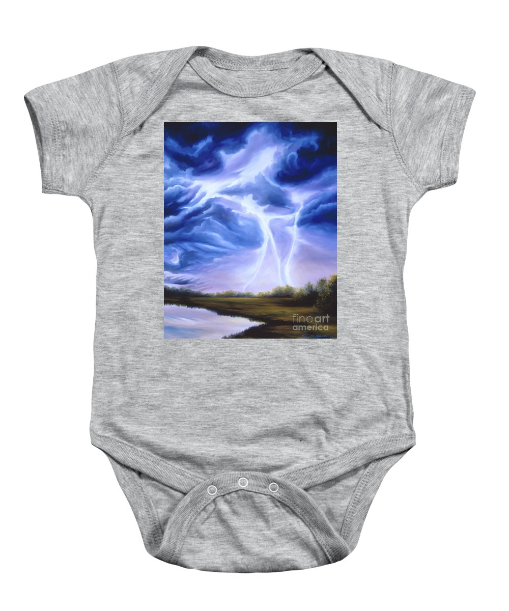Marsh Baby Onesie featuring the painting Tesla by James Christopher Hill