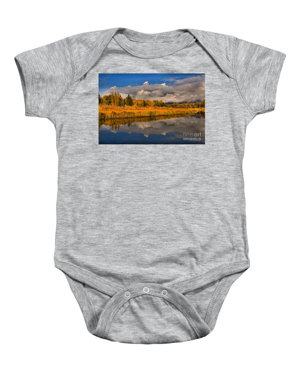 Gtnp Baby Onesie featuring the photograph Teton Fall Foliage And Fog by Adam Jewell