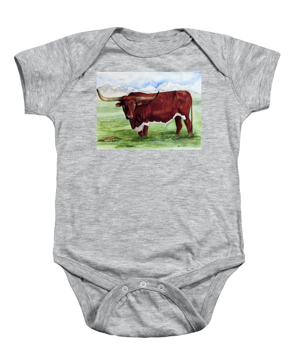 Longhorn Bull Baby Onesie featuring the painting Texan, Extra Huge by Gina Hall