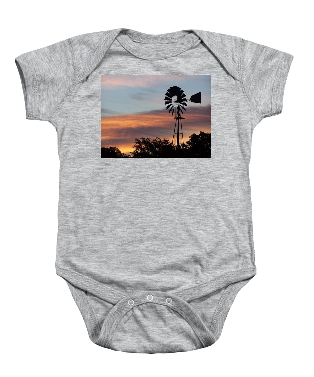 Windmill Baby Onesie featuring the photograph Texas Sunrise by Gale Cochran-Smith