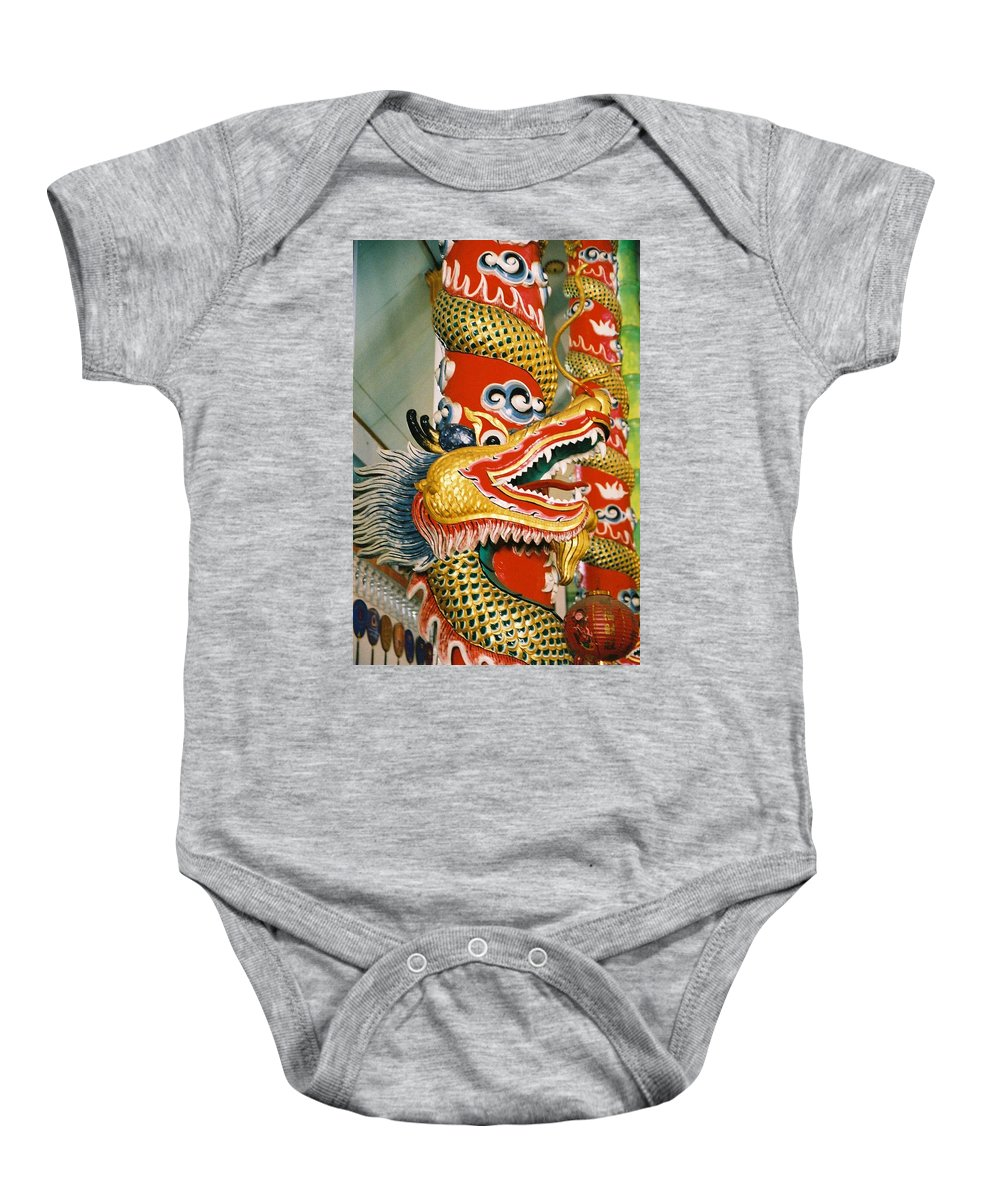 Animal Baby Onesie featuring the photograph Thai Dragon by Mary Rogers