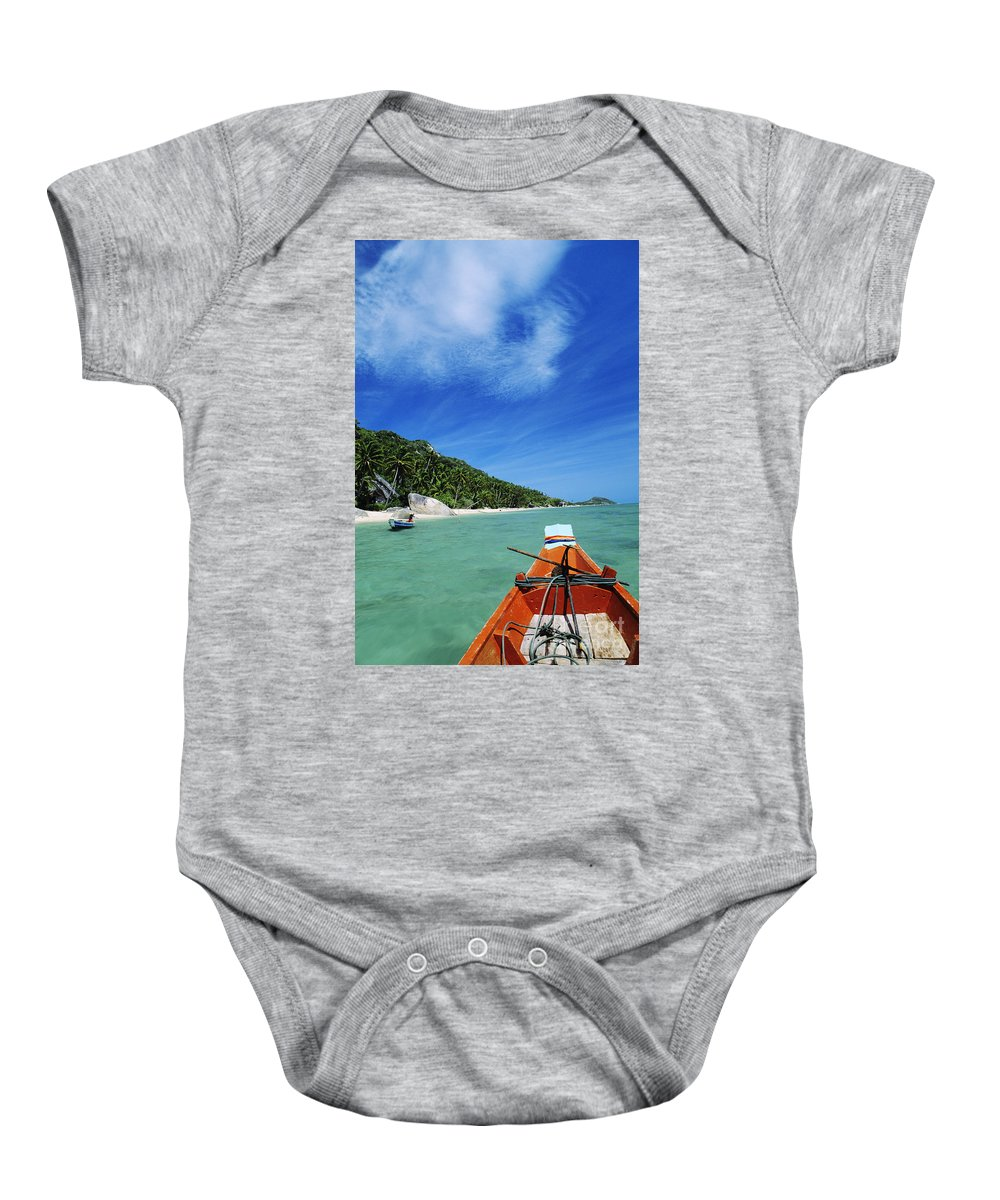 Aqua Baby Onesie featuring the photograph Thailand Boat by William Waterfall - Printscapes