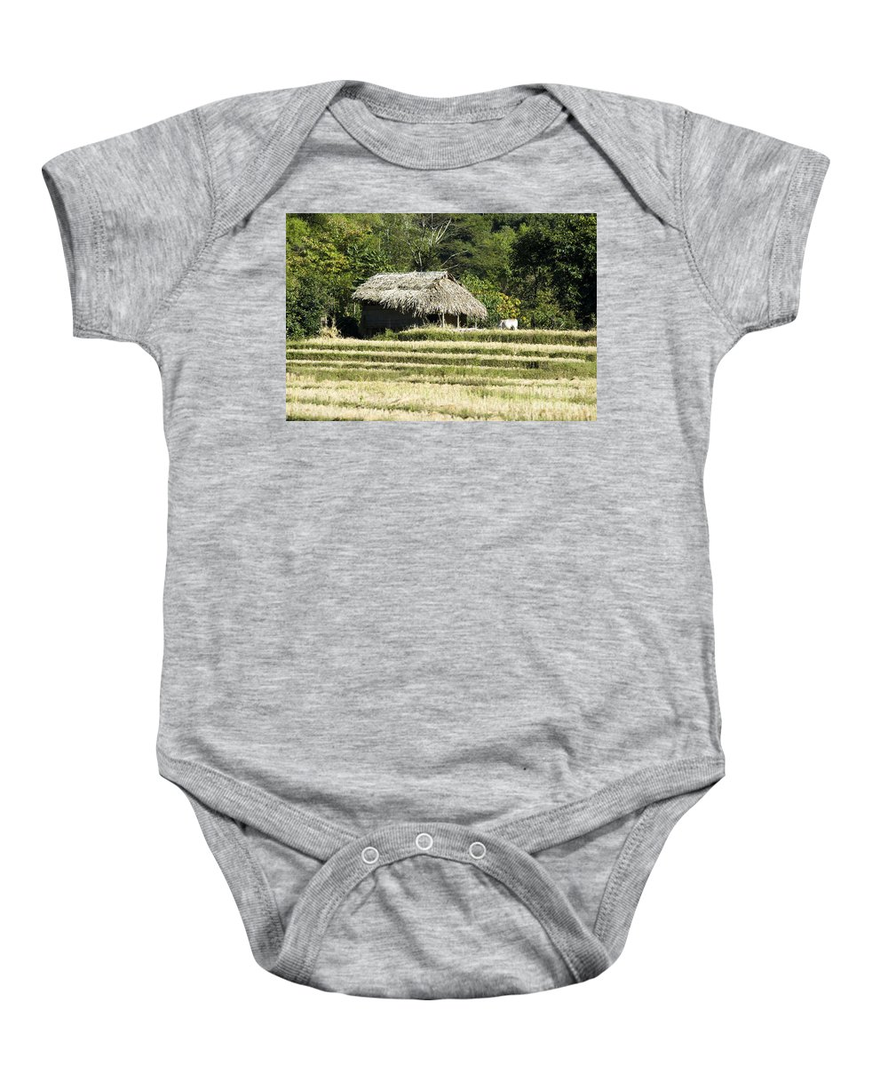 Agriculture Baby Onesie featuring the photograph Thatched Shelter by Bill Brennan - Printscapes