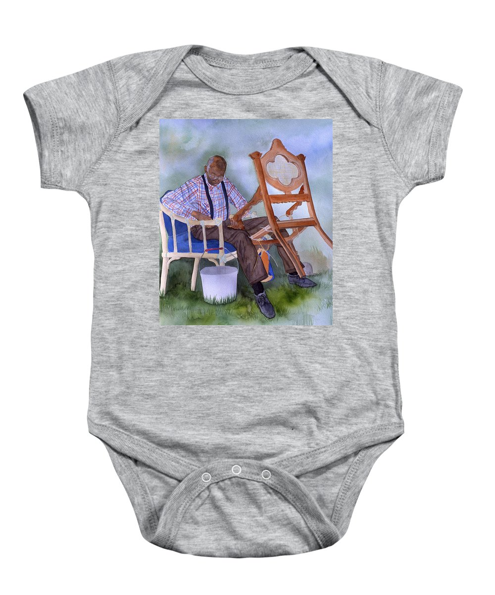 Portrait Baby Onesie featuring the painting The Art Of Caning by Jean Blackmer