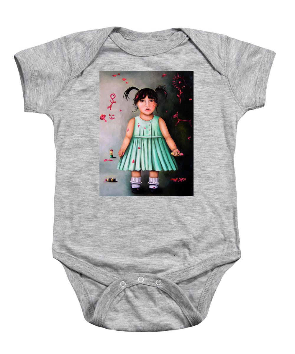 Baby Baby Onesie featuring the painting The Artist-beginning Of A Child Prodigy by Leah Saulnier The Painting Maniac