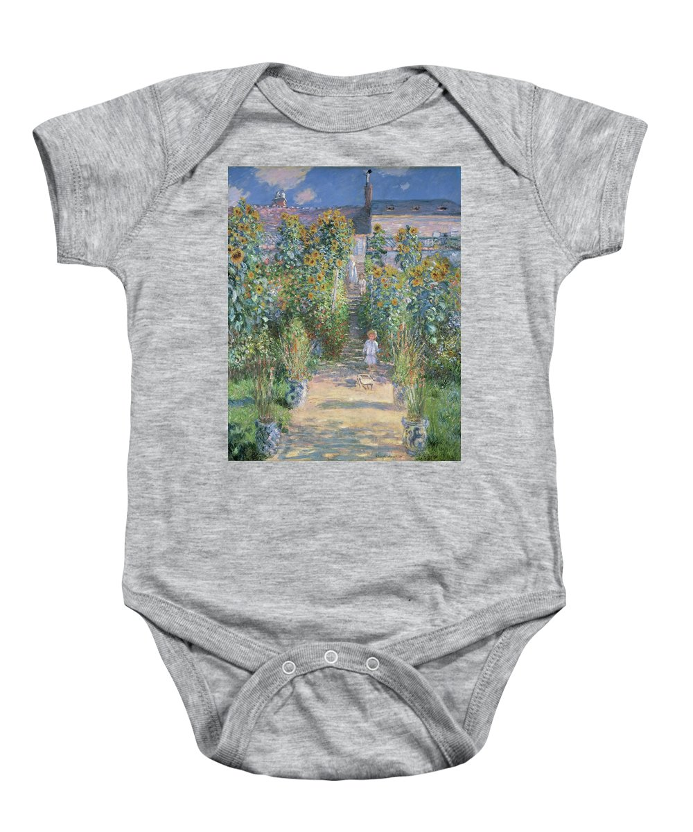 Claude Monet Baby Onesie featuring the painting The Artists Garden At Vetheuil by Claude Monet