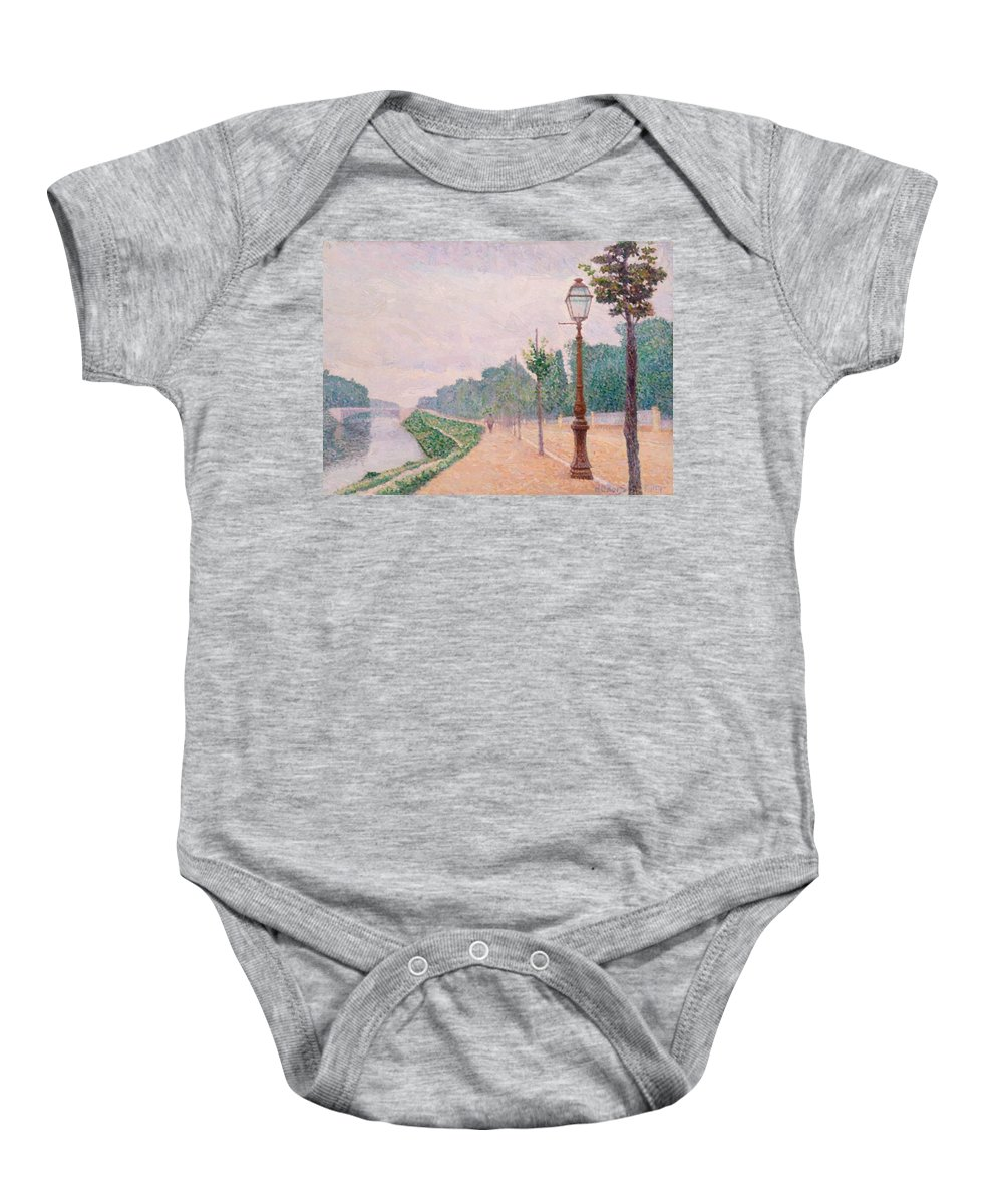 The Baby Onesie featuring the painting The Banks Of The Seine At Neuilly 1886 by DuboisPillet Albert