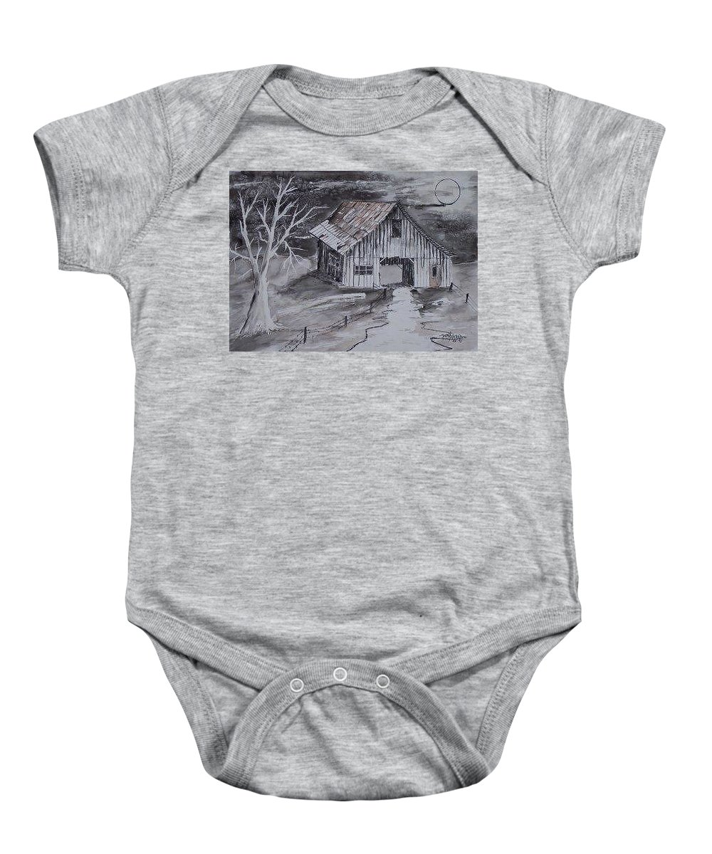 Watercolor Landscape Painting Barn Pen And Ink Painting Drawing Baby Onesie featuring the painting THE BARN country pen and ink drawing by Derek Mccrea