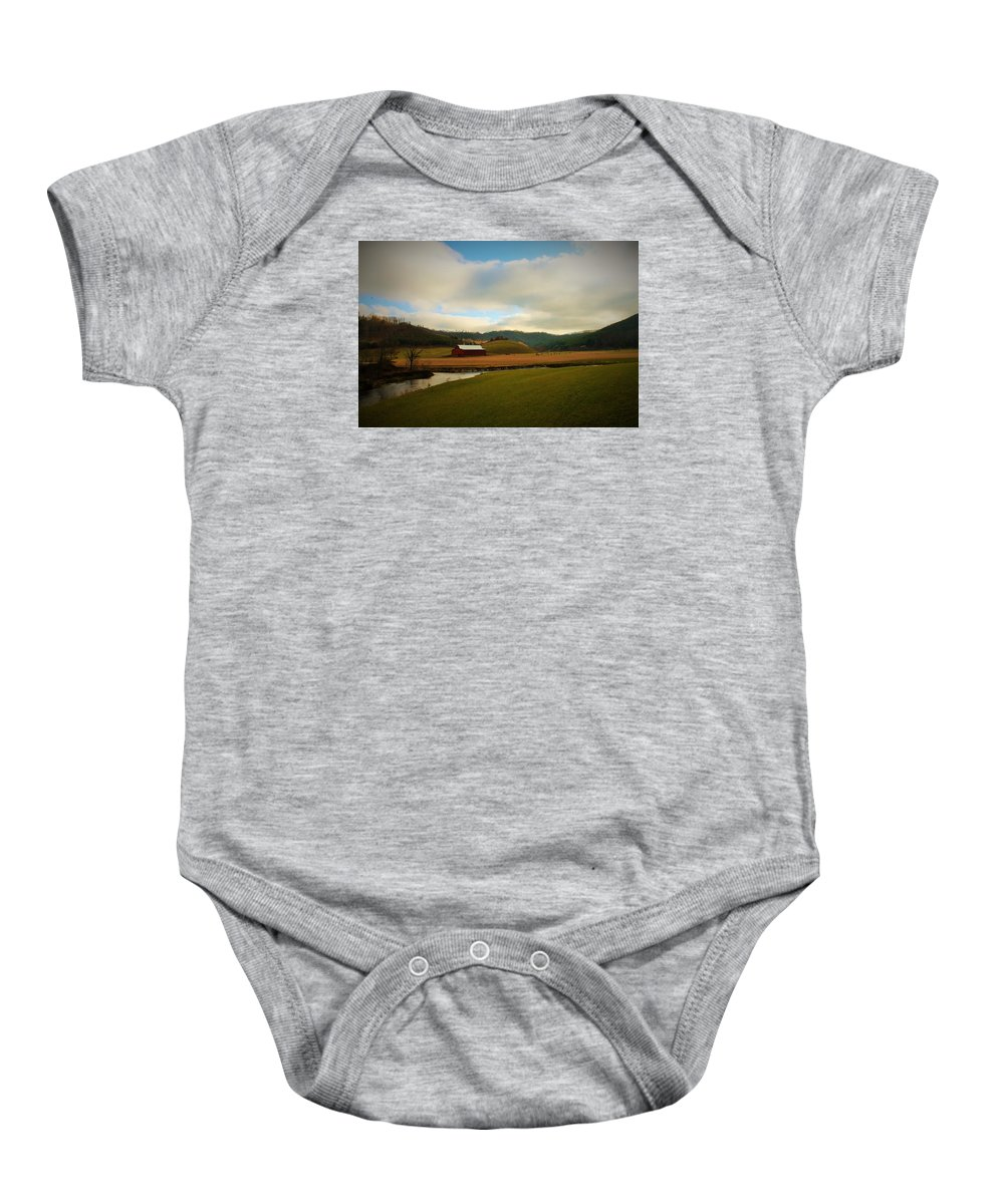 Barn Baby Onesie featuring the photograph The Barn On Green Acres by Sandra Bennett