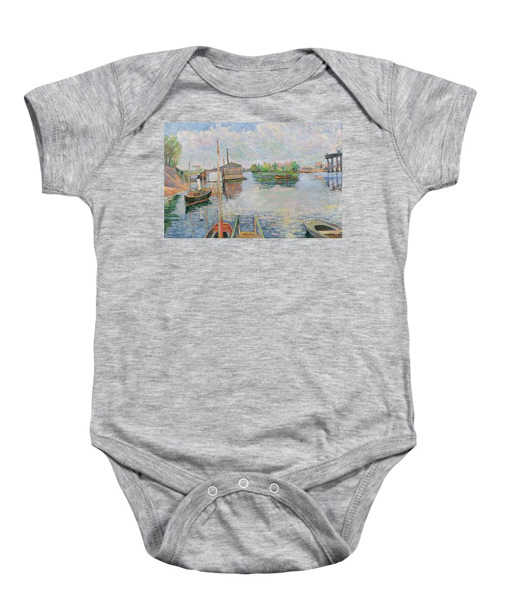 The Baby Onesie featuring the painting The Bateau Lavoir At Asnieres by Paul Signac
