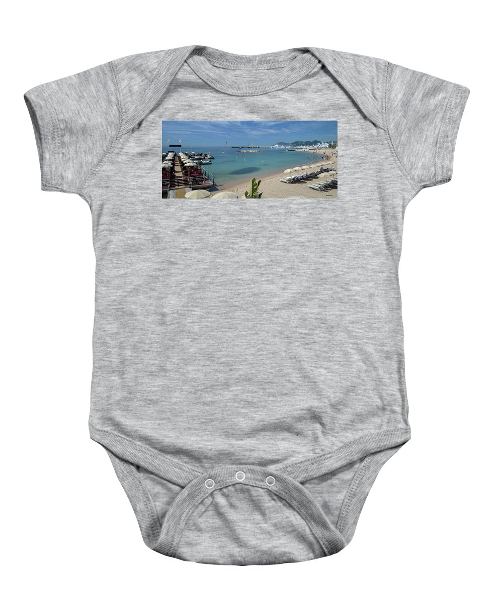 Seascape Baby Onesie featuring the photograph The Beach At Cannes by Allen Sheffield