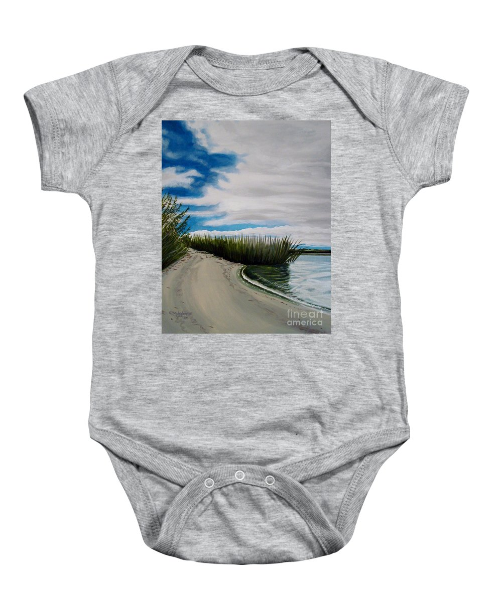 Beach Baby Onesie featuring the painting The Beach by Elizabeth Robinette Tyndall