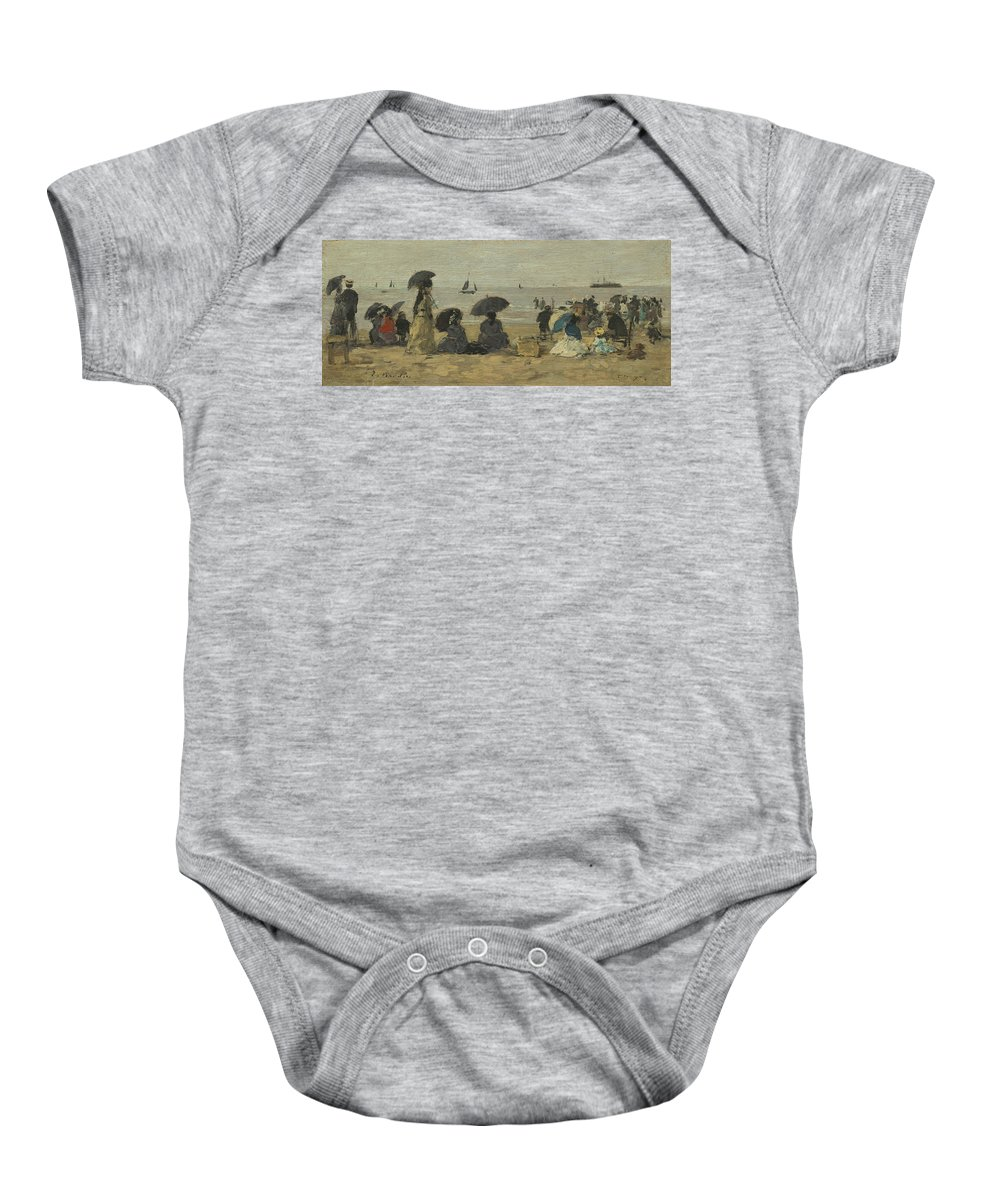 Eugene Boudin Baby Onesie featuring the painting The Beach by Eugene Boudin