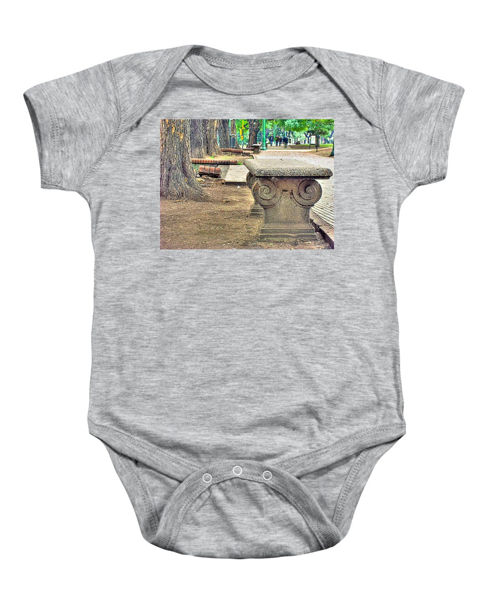 Bench Baby Onesie featuring the photograph The Bench by Francisco Colon