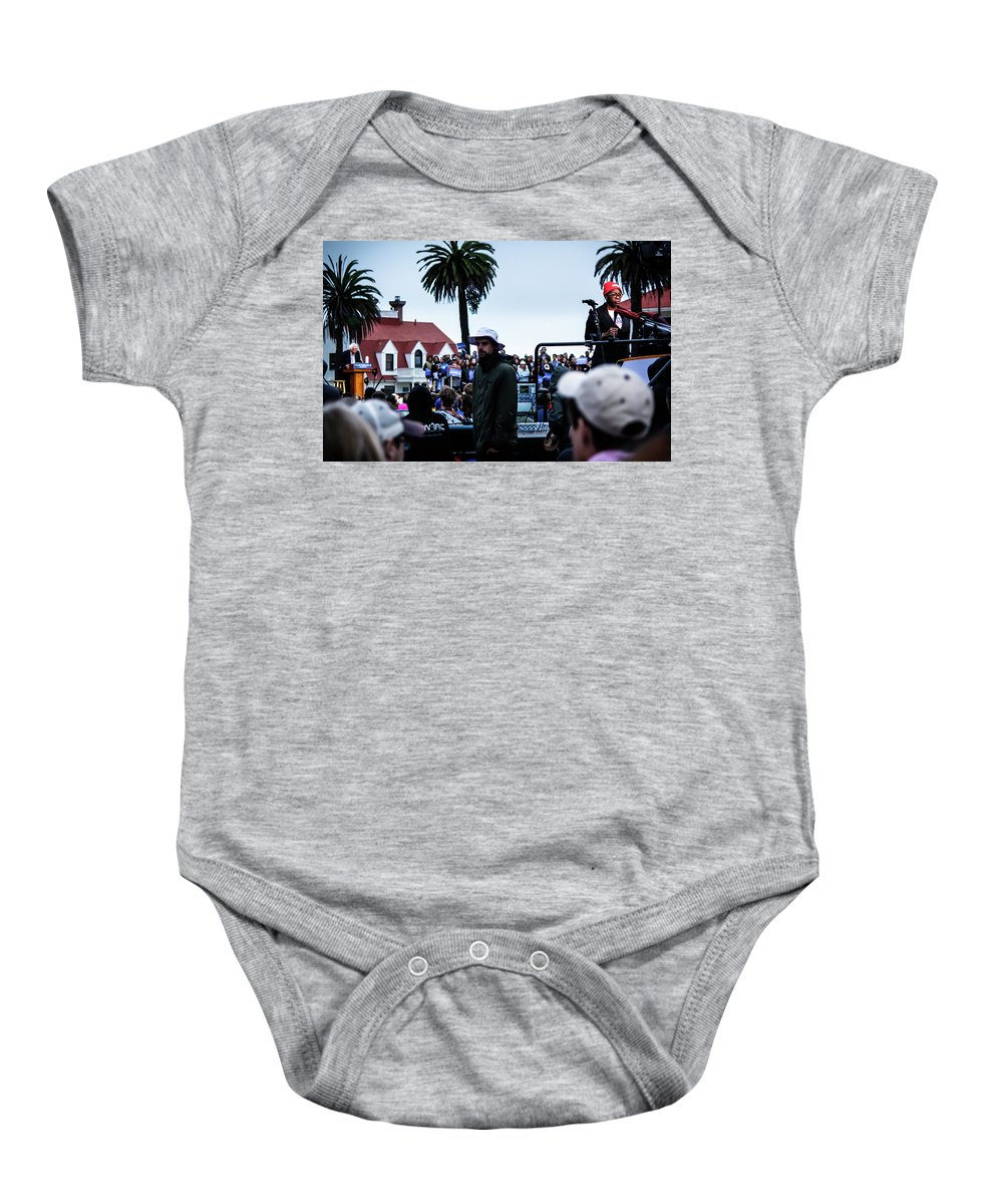 Feel The Bern Baby Onesie featuring the photograph The Bern Unit by Nick Mattea