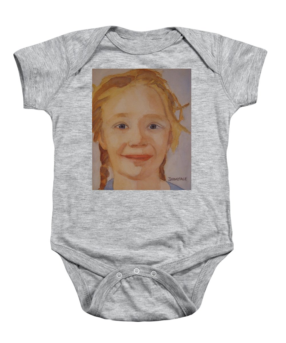 Partrait Baby Onesie featuring the painting The Blue-eyed Duckling by Jenny Armitage