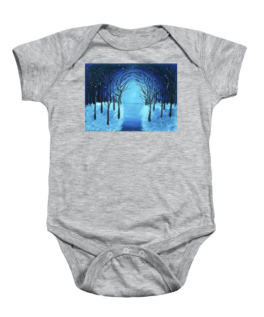 Forest Baby Onesie featuring the painting The Blue Forest by Sneha