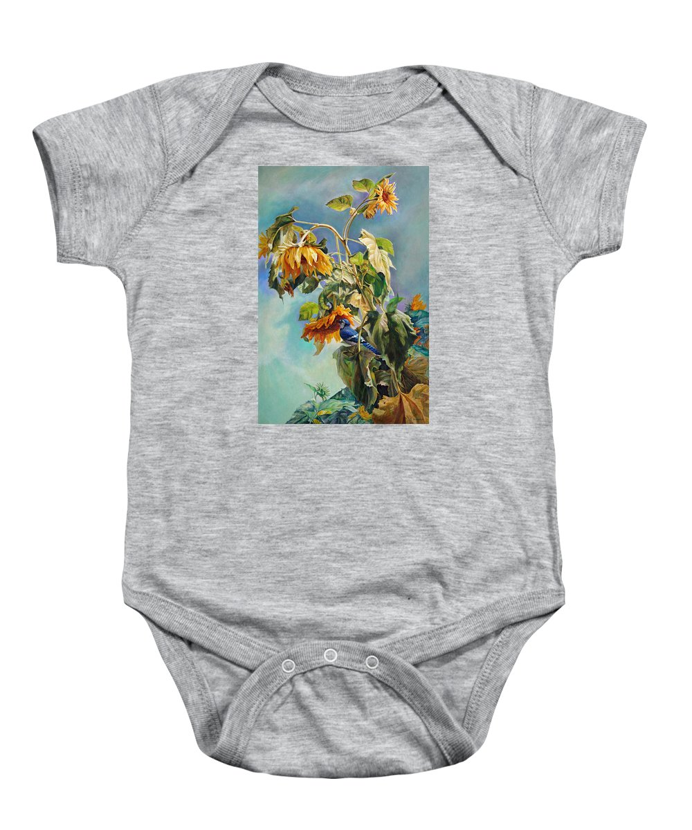 Sunflower Baby Onesie featuring the painting The Blue Jay who came to breakfast by Svitozar Nenyuk