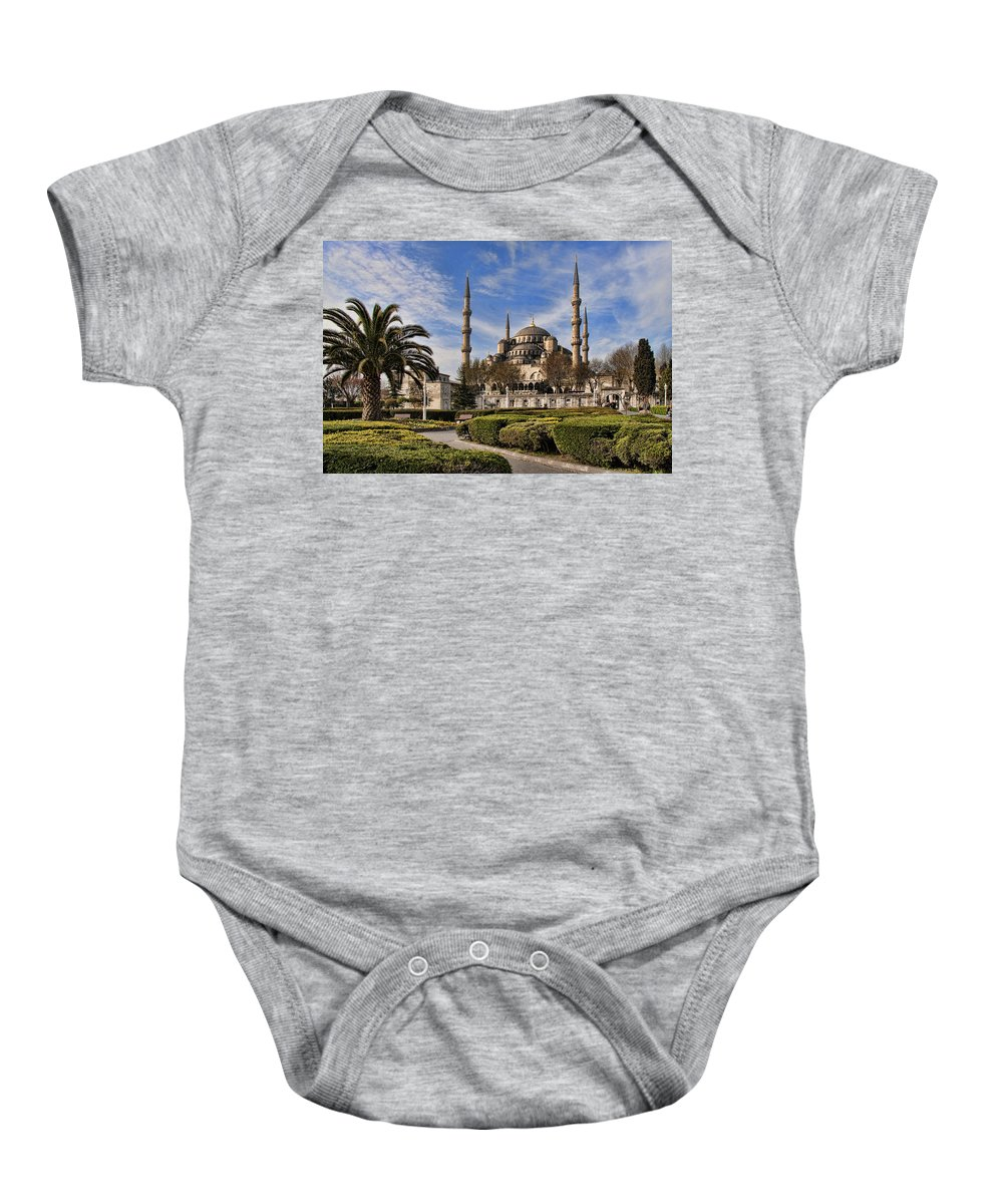 Turkey Baby Onesie featuring the photograph The Blue Mosque In Istanbul Turkey by David Smith