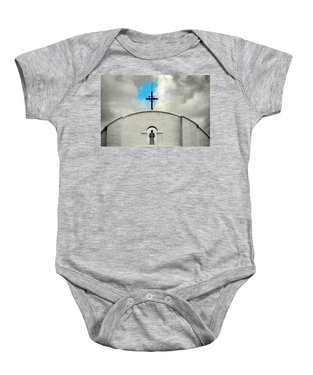 Religion Baby Onesie featuring the photograph The Blue Spot In The Sky by Susanne Van Hulst