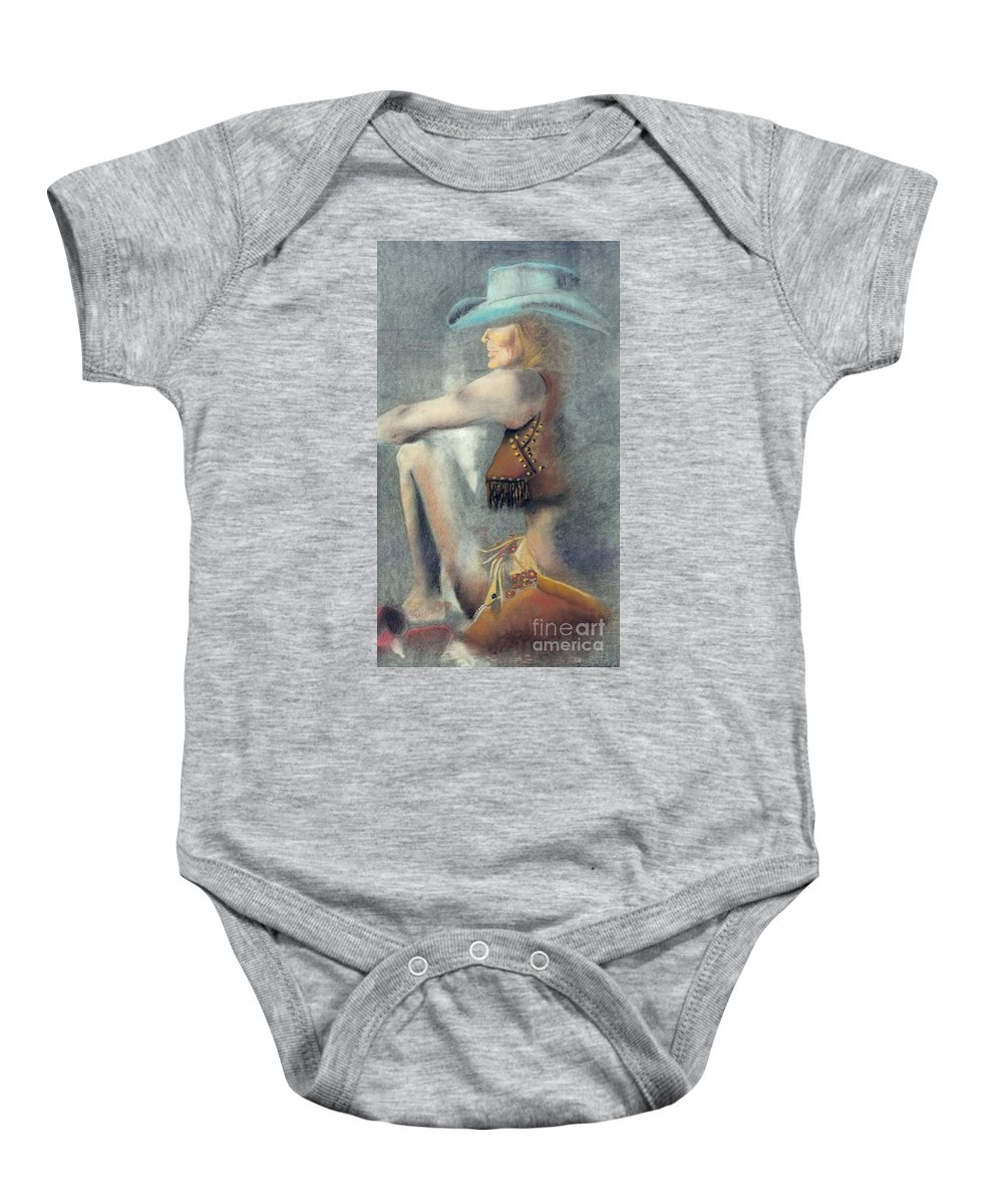 Cowgirls Baby Onesie featuring the drawing The Blue Stetson by Frances Marino