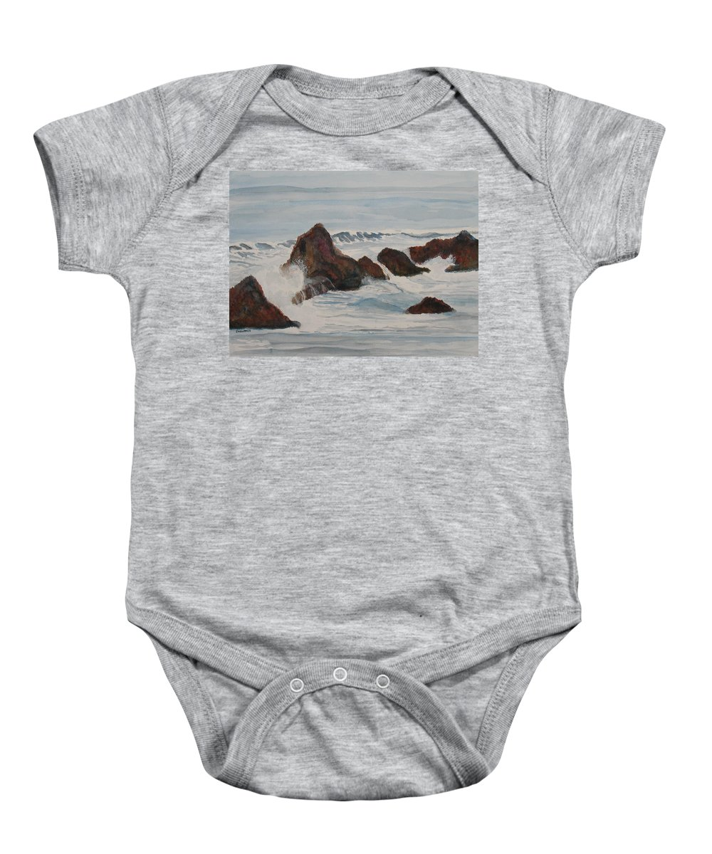 Waves Baby Onesie featuring the painting The Breakers At Seal Rock II by Jenny Armitage